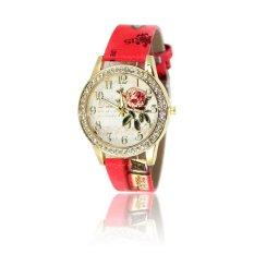 Elegant Delicate Diamond Vintage Rose Flower Leather Band Wrist Watch For Lady Women (White) (Intl)