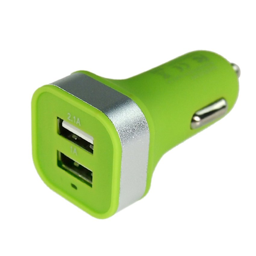 ELENXS Candy-Colored Frosted 2 Port USB Car Charger (Green)