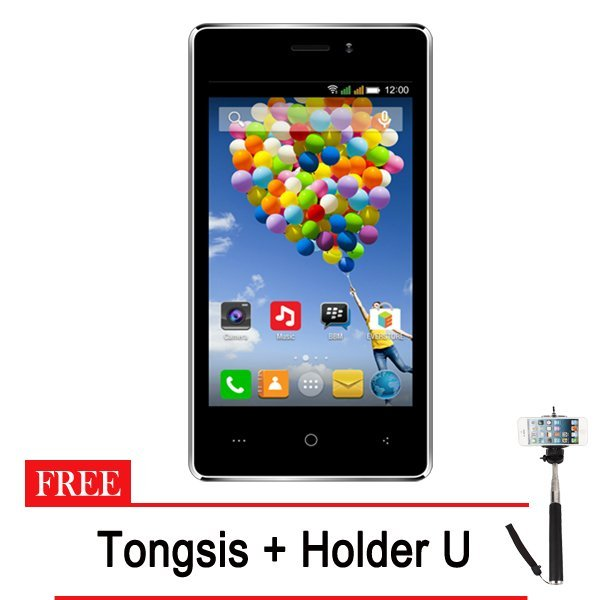 Evercoss A74A Winner T - 8GB - Hitam + Gratis Tongsis