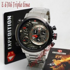 Expedition Jam Tangan E6706 MT Triple Time Silver Black Red