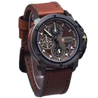 Expedition - Jam Tangan Pria - Leather Strap - E6603 Brown