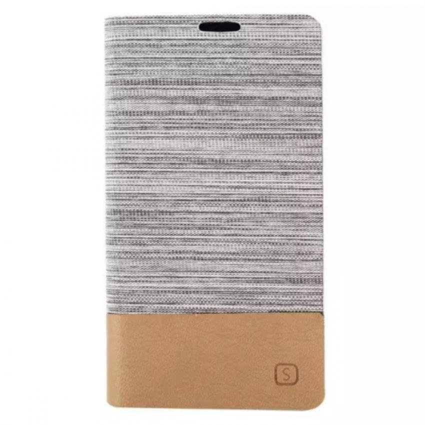 Fabic Grain Flip Case Built-in Soft Silicon Back Cover For Samsung Galaxy S5 mini (Grey) (Intl)