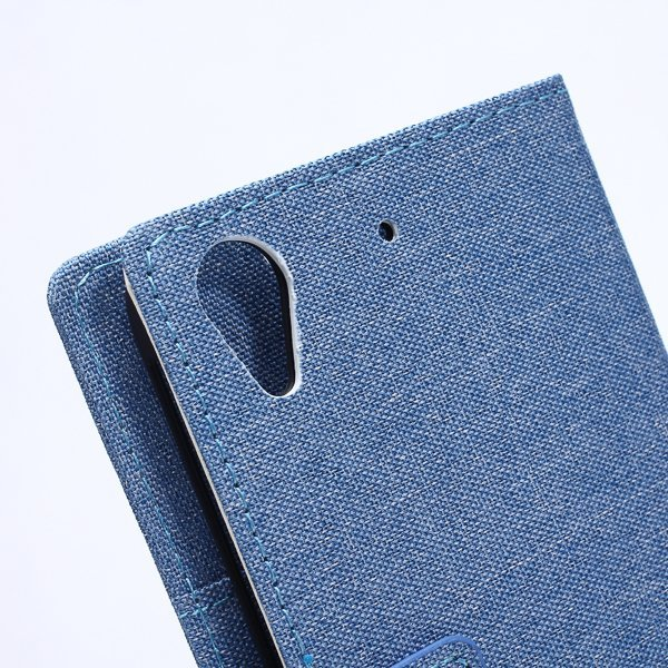 Fabic Grain Flip Cover Case Built-in Card Slot For HTC Desire 626 (Blue) (Intl)