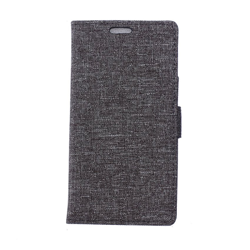 Fabic Grain Flip Cover Case Built-in Card Slot For LG AKA (Black) (Intl)