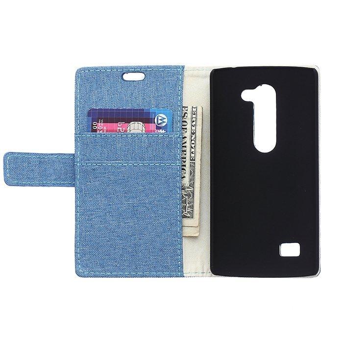 Fabic Grain Flip Cover Case Built-in Card Slot For LG G40 (Blue) (Intl)