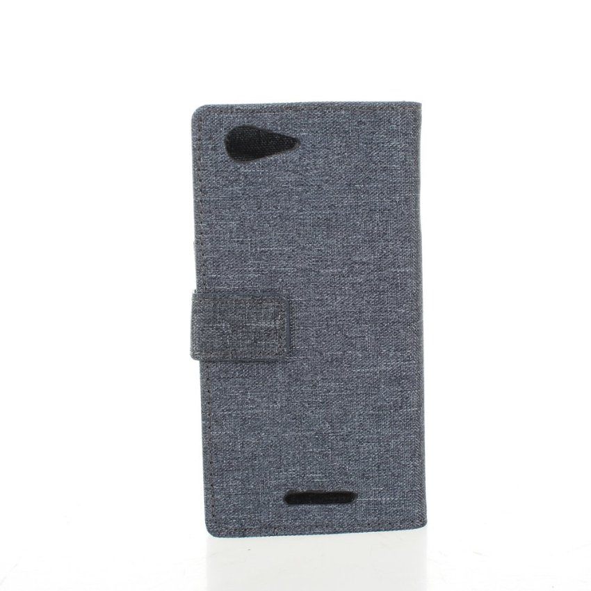 Fabic Grain Flip Cover Case Built-in Card Slot For Sony Xperia E3 (Gray) (Intl)