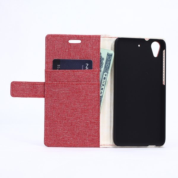 Fabic Grain Flip Cover for HTC Desire 626 (Red) (Intl)