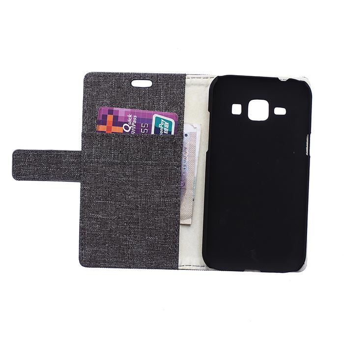 Fabic Grain Flip Cover for Samsung Galaxy J1 (Gray) (Intl)