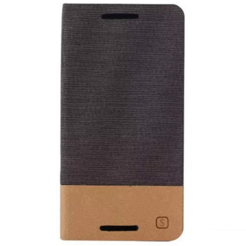 Fabric Grain and Soft Silicone Flip Cover for HTC One M9 (Brown) (Intl)
