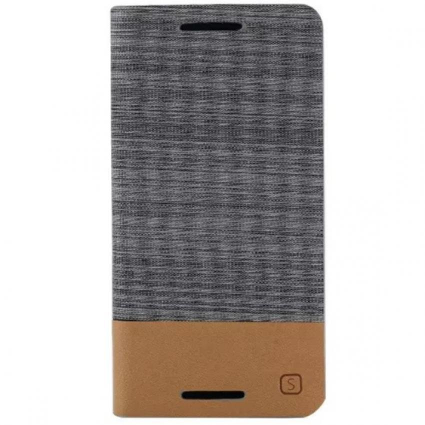 Fabric Grain and Soft Silicone Flip Cover for HTC One M9 (Gray) (Intl)