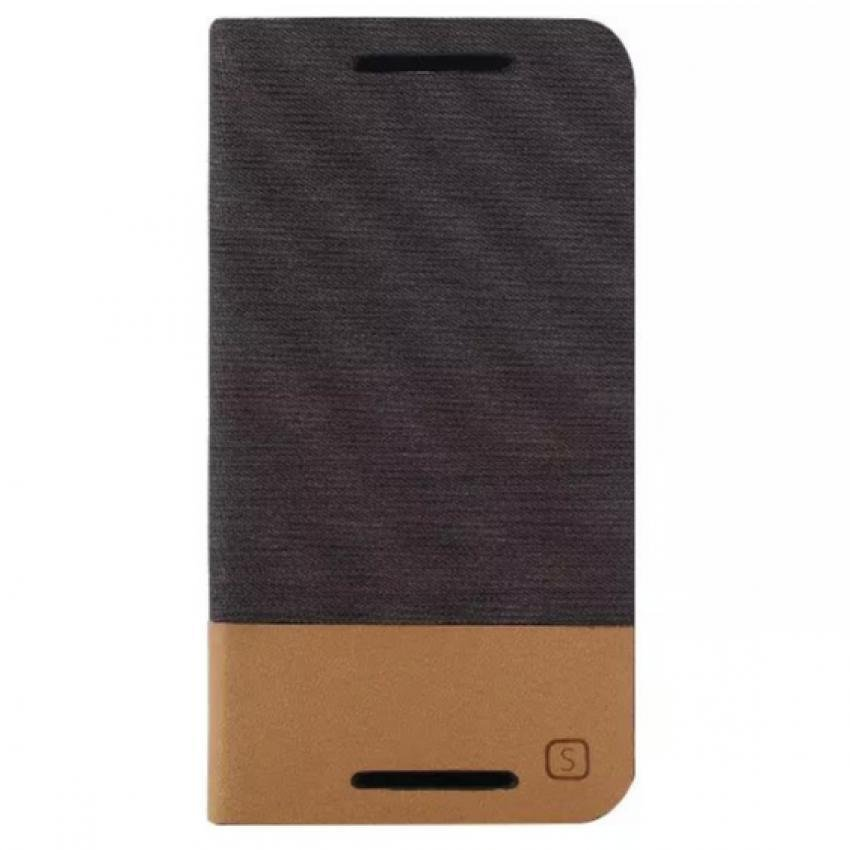 Fabric Grain and Soft Silicone Flip Cover for Moto G2 (Brown) (Intl)