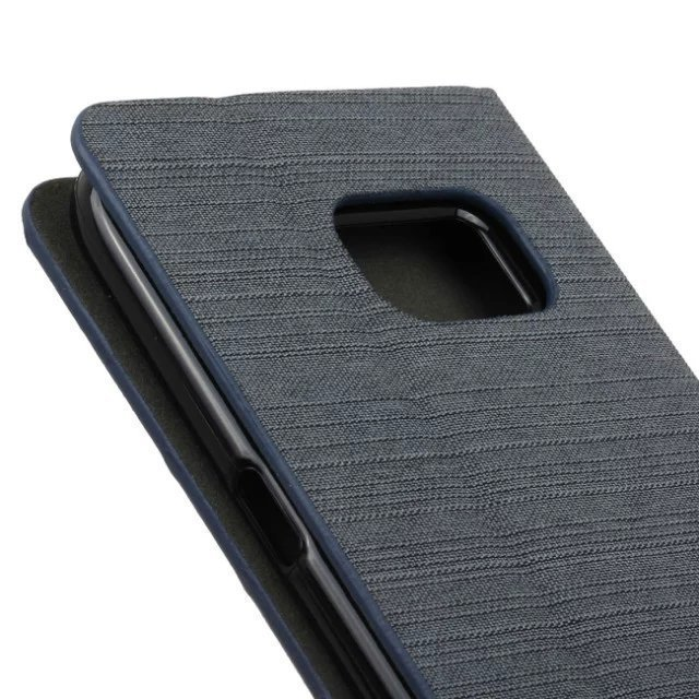 Fabric Grain Flip Case Built-in Soft Silicon Back Cover for Samsung Galaxy S7 (Gray) (Intl)