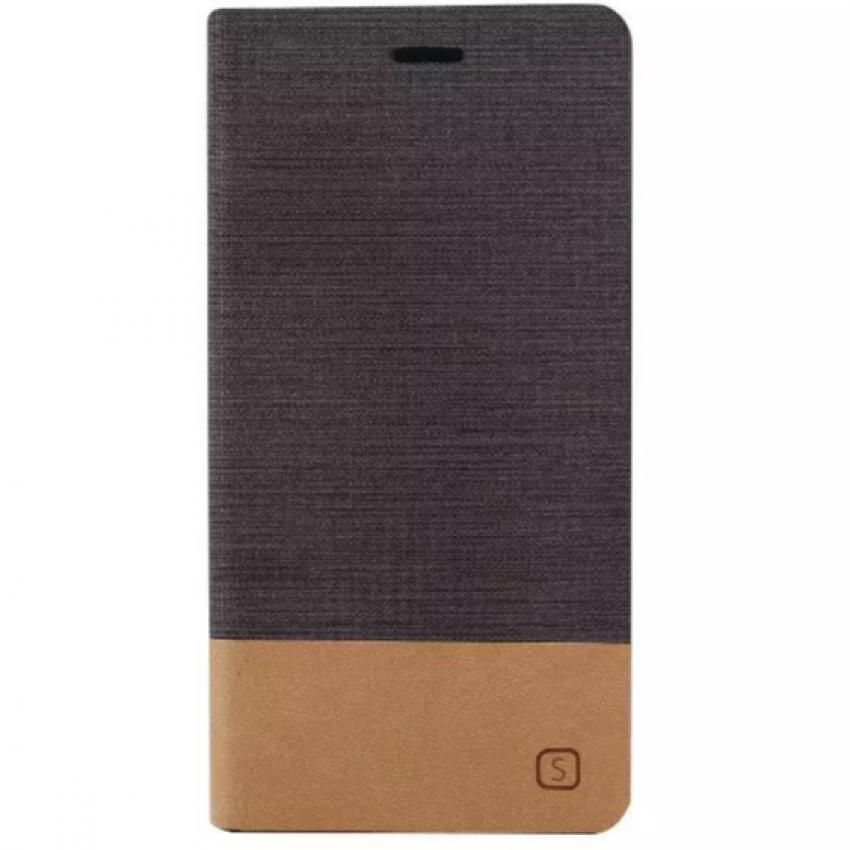 Fabric Grain Flip Case Built-in Soft Silicon Back Cover for Sony Xperia Z3 (Brown) (Intl)