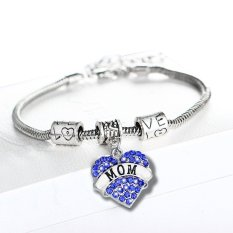 Family New Year Gift Silver Blue Crystal Love Heart Charm Beads Mom Pendant Bracelet Jewelry For Mother