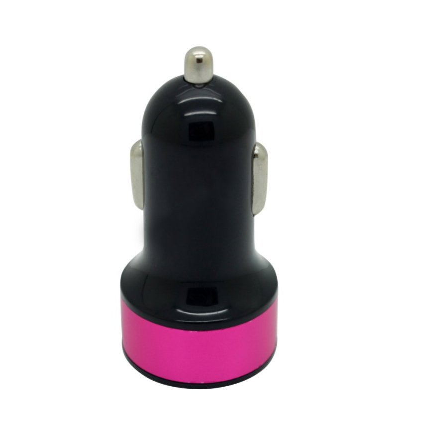 Fang Fang Dual USB Car Charger for iPod iPhone (Black + Hot Pink)