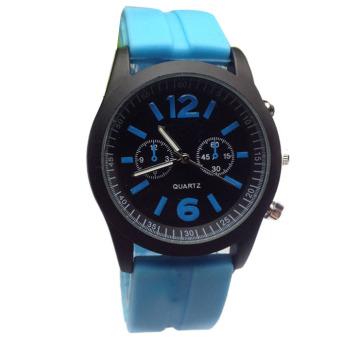 Fashion Boys Girls Ladies Silicone Jelly Gel Quartz Analog Sports Wrist Watches Blue