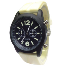 Fashion Boys Girls Ladies Silicone Jelly Gel Quartz Analog Sports Wrist Watches Light Yellow