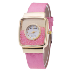 Fashion Casual Square Gold Shell PU Leather Watch (Pink)