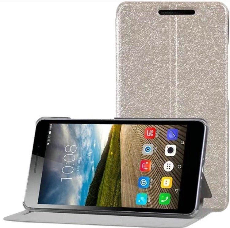 Fashion Flip Cover / Flipcase Leather untuk Lenovo Phab Plus - Gold + Gratis Screen Guard