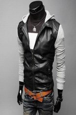 Fashion Gray Long Sleeve Men Zipper With Hat Korean Short Length Style Cool Coat For Men Gray- Intl