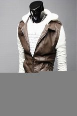 Fashion Gray Long Sleeve Men Zipper With Hat Korean Short Length Style Cool Coat For Men (White And Brown)