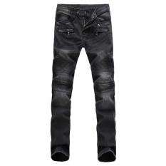 Fashion Mens Straight Slim Fit Denim Trousers (Gray) (Intl)