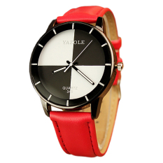 Fashion PU Leather Women's Fashion Printing Hot Sale Quartz Watch Gifts Red