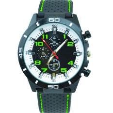 Fashion Racing Sport Quartz Luxury Watches For Men With Silicone Strap Military Army Wristwatches (Green)