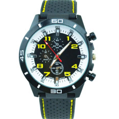 Fashion Racing Sport Quartz Luxury Watches For Men With Silicone Strap Military Army Wristwatches (Yellow)