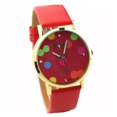 Fashion Simple Dot Red Belt Fashion Watches For Women Quartz Watch (Intl)