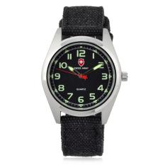 Fashion Sports Watch Textile Canvas Belt Watch Unisex Quartz Watches Wholesale-Black