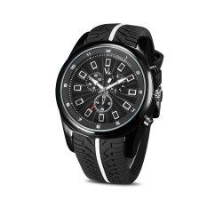 Fashion V6 Mens Sport Quartz Wrist Watch Tire Style Black Silicone Band Watches - INTL