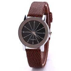 Fashion Watch Round Steel Case Men Women Faux Leather Couple Quartz Wrist Watch (Brown, Small Dial)