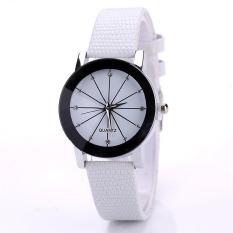 Fashion Watch Round Steel Case Men Women Faux Leather Couple Quartz Wrist Watch (White, Small Dial)