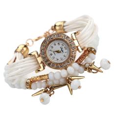 Fashion Women Braid Winding Wrap Bracelet Stainless Steel Watch White - Intl