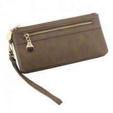 Fashion Women Leather Clutch Wallet Long PU Card Holder Lady Purse Lady Handbag Coffee - INTL