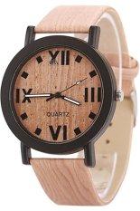 Fashion Women's Brown Retro Wood Grain Faux Leather Bronze Watch 60bl027-3