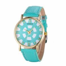 Fashion Women's Date Geneva Stainless Steel Leather Analog Quartz Wrist Watch Green Free Shipping