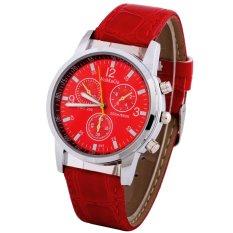 Fashionable Brown Faux Leather Strap Round Dial Quartz Men's Wrist Watch New