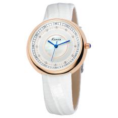 Fehiba KIMIO Ms. Watch Fashion Casual Leather Watch Quartz Watch Shell Surface KW521M (White)