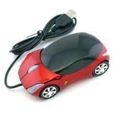 Ferrari Car Shaped Optical USB Mouse (Red) - Intl