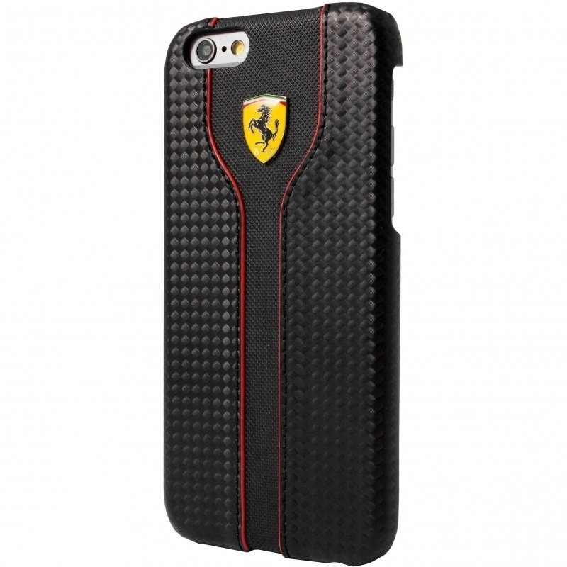 Ferrari Hard Case Racing Carbon PU Leather For Iphone 6 FEST2HCP6BK– Black