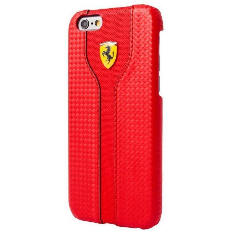 Ferrari Hard Case Racing Carbon PU Leather For Iphone 6+ FEST2HCP6LRE – Red