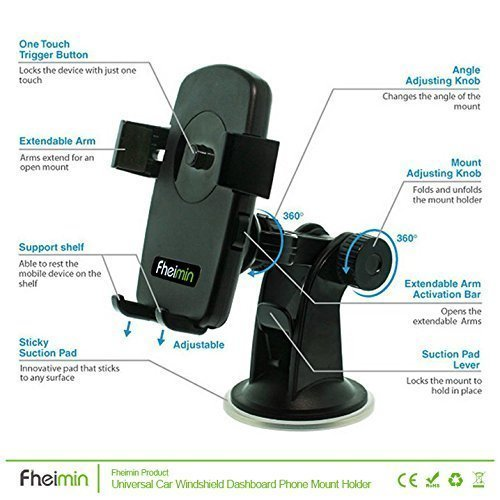 Fheimin Easy One Touch 2 Car Mount Holder Windshield Dashboard Universal car cradle for iPhone 6 5s 5c 5 4s 4, Samsung Galaxy S6 Edge Plus S6 S5 S4, Note 5 4 3, Google Nexus 5 4, LG G4,HTC ect (Yellow) (Intl)