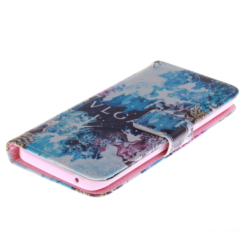 Filp Leather Built in Card Slot With Blue Color Doule Painting Case for Wiko WAX-White (Intl)
