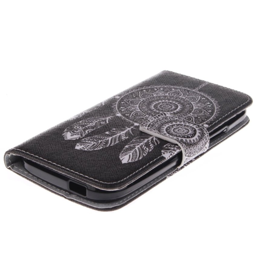 Filp Leather Built in Card Slot With Dreamcatcher Double Painting Cover for HTC One M8 Mini (Black) (Intl)