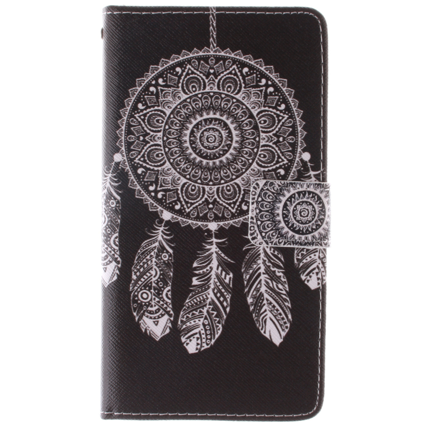 Filp Leather Built in Card Slot With Dreamcatcher Double Painting Cover for Samsung Galaxy A7 (Black) (Intl)