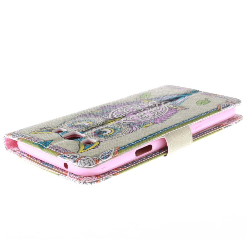 Filp Leather Built in Card Slot With OWL Double Painting Cover for Samsung Galaxy E7-Multicolor (Intl)