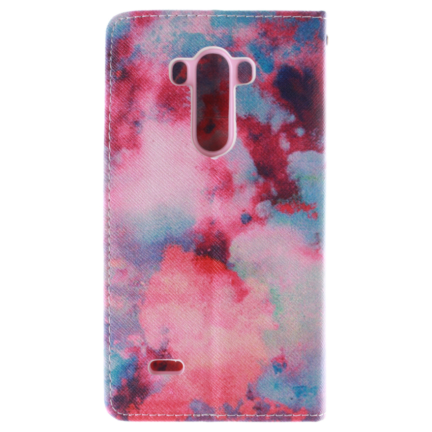 Filp Leather Built in Card Slot With Red Sky Double Painting Cover for LG G3 (Red) (Intl)