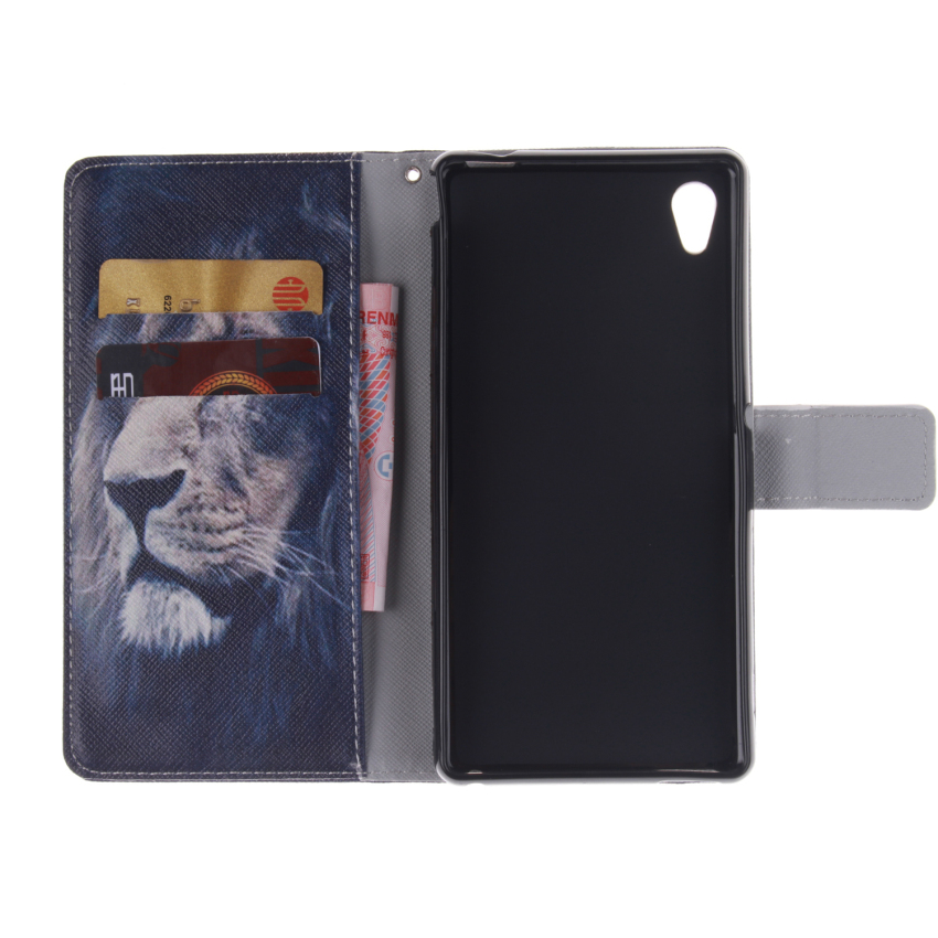 Filp Leather Case Built in Card Slot for Sony Xperia M4 (Lion Double Painting Black) (Intl)